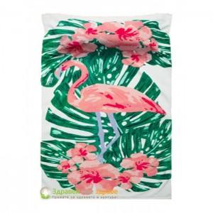 Плажна кърпа с възглавничка с тропически принт