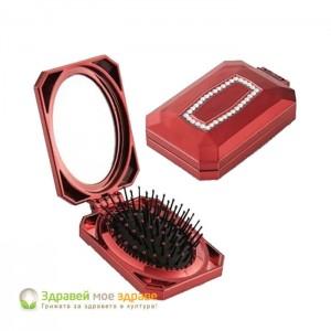 Сгъваема четка с огледало червена