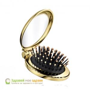 Сгъваема четка за коса с огледало - златна