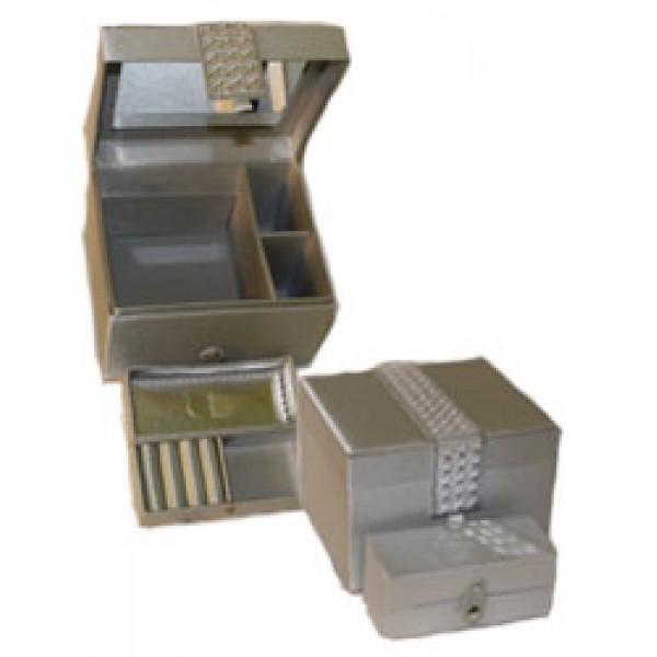 Кутия за бижута сребриста