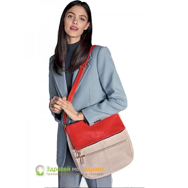 Чанта през рамо Selda - red и beige