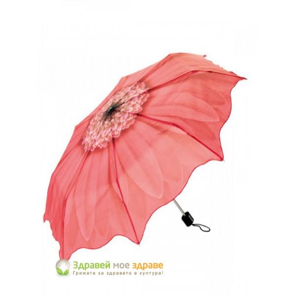 Чадър с апликация цвете