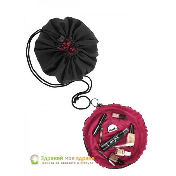 Козметична чантичка кръгла с връзки